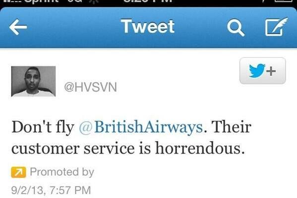 Etude de cas : Le tweet sponsorisé d'un client de British Airways