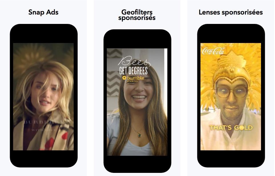 Formats publicitaires proposés par Snapchat