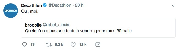 capture d'écran d'un tweet du community manager de décathlon