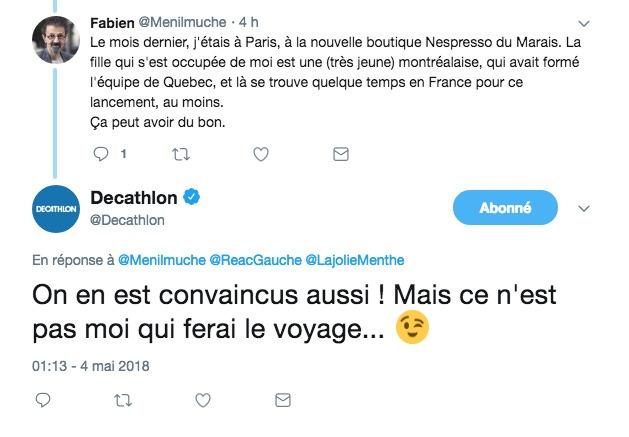 capture d'écran d'une réponse à un tweet du CM de Décathlon à un client